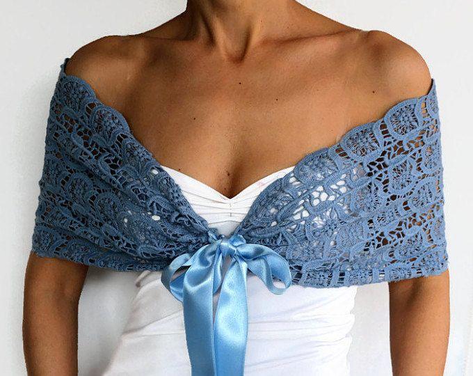 Azul de encaje encogiéndose de hombros, abrigo, bufanda chal, Bolero nupcial de encaje de algodón, capa superior, cabo, mujeres de moda de noche de hombro