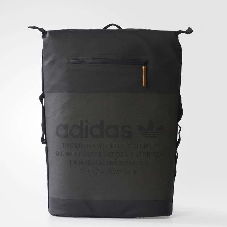 """Function meets tech-inspired design. Built in a rubberized material with suede details, this backpack has a waterproof front, a side zip and a laptop pocket. Carry it on your shoulders or with the handle. Tonal, reflective lettering reads """"The Brand With the 3-Stripes"""" in four languages on the front."""