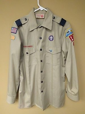 Vintage Mens Boy Scouts of America BSA Uniform SS Shirt Tan sz M Patches Pins