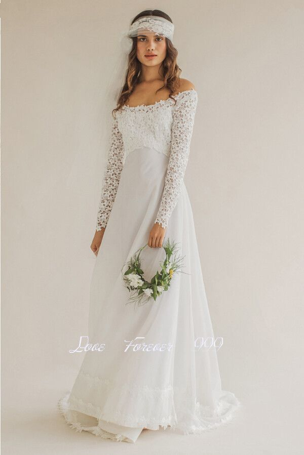 Long Sleeve Lace Wedding Dress 2015 White Bridal Gown Unique Garden Wedding Long Strapless Boat Neck Wedding Gown Abiti Da Sposa