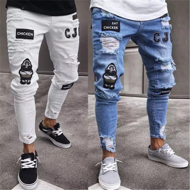 Tienda Online Pantalones Vaqueros Rasgados Vintage De Moda Para Hombres Pantal Pantalones De Hombre Moda Pantalones Vaqueros Rasgados Ropa Para Hombres Jovenes
