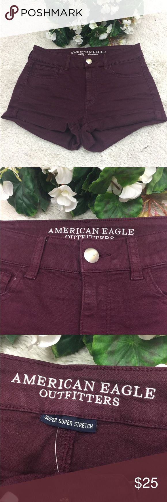 American Eagle Red High-Rise Short Shorts Size 4 American Eagle Red High-Rise Short Shorts Size 4. Great used condition American Eagle Outfitters Shorts Jean Shorts