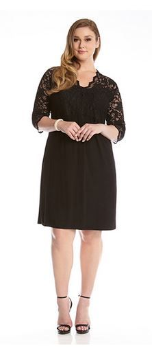 BLACK PLUS SIZE LBD CONTRAST SCALLOP LACE PARTY DRESS Plus Size Fashion Sexy V Neck Black Lace Dress #Sexy #Black_Lace #Karen_Kane #LBD #Party #Dress #Plus_Size #Holiday #Fashion #KarenKane
