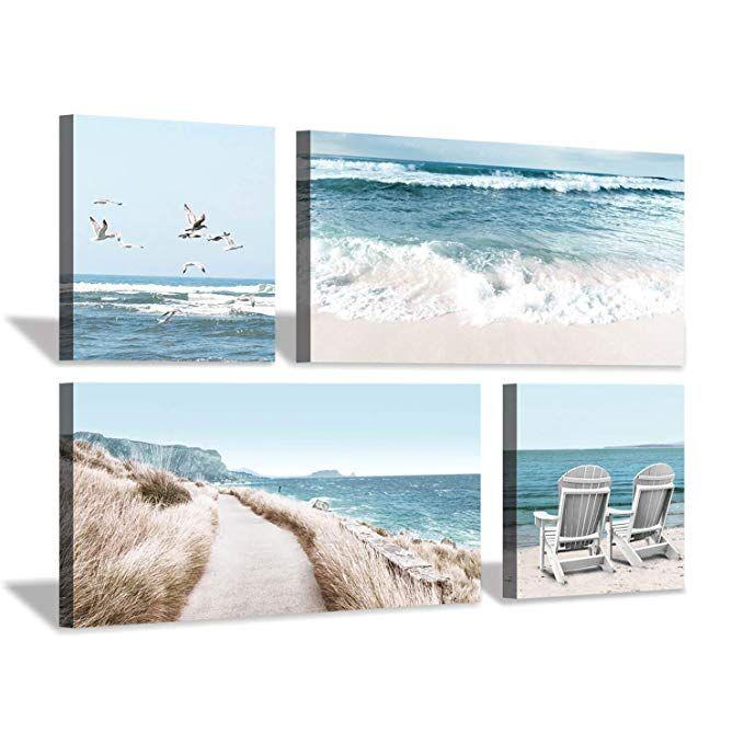 Amazon Com Seaside Scene Canvas Wall Art Beach Chairs Seagulls