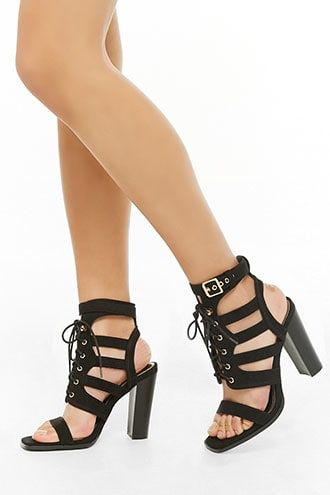 4677e55001b Strappy Faux Suede Heels in 2019 | Products | Suede heels, Heels ...