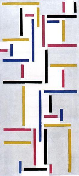 Theo van Doesburg - Ritme van een Russische dans, dit is ritmisch omdat de lijnen verticaal en horizontaal staanen omdat de kleuren niet altijd overeenkomen