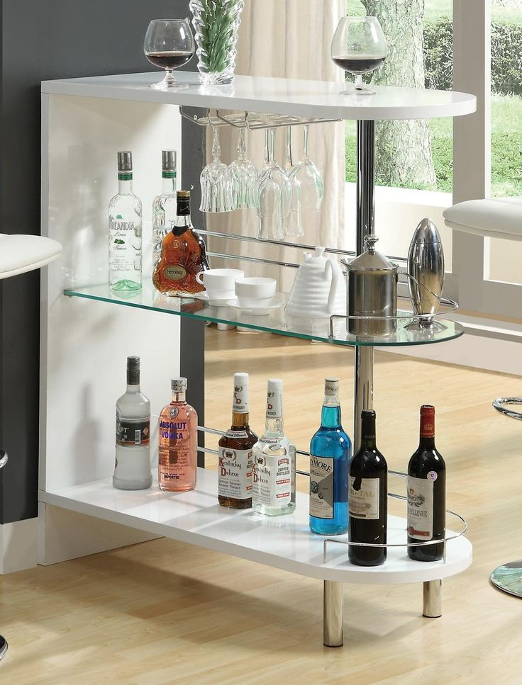 White Bar Table With Wine Glass Storage And Shelf By Coaster 101064