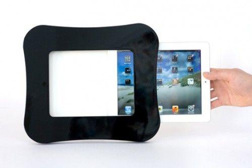 My Tabletframe iPad Wandhalterung Wave in schwarzer Klavierlack Optik