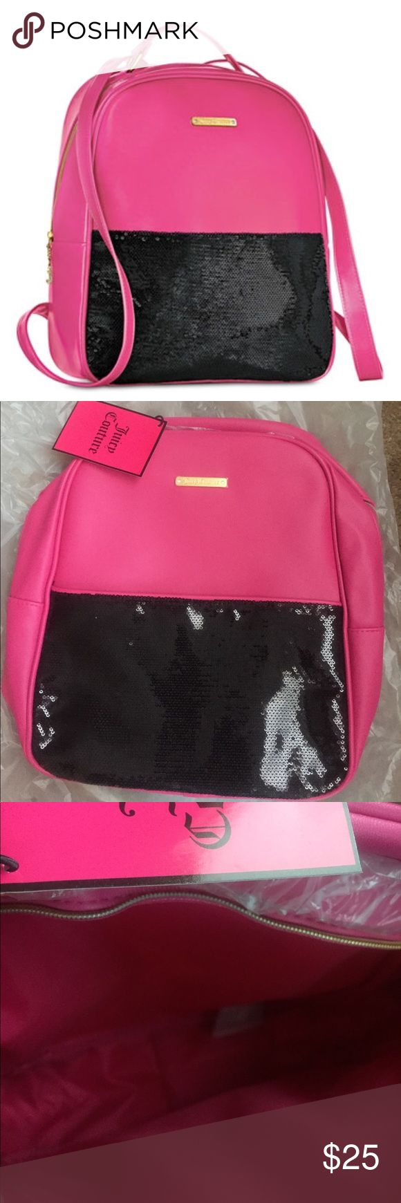 Juicy Couture sequins backpack New.  Pink with black sequins. Juicy Couture Bags Backpacks