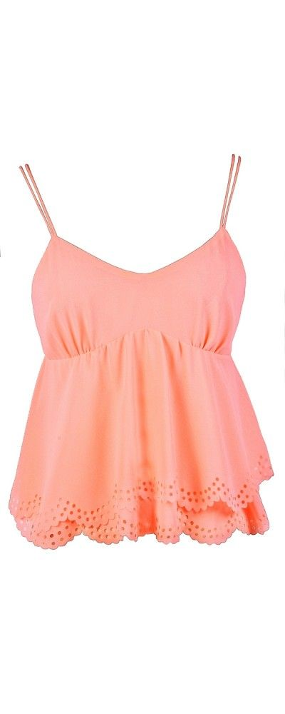 Lily Boutique Fluttering Eyelet Scallop Hemline Top in Neon Peach , $22 www.lilyboutique.com