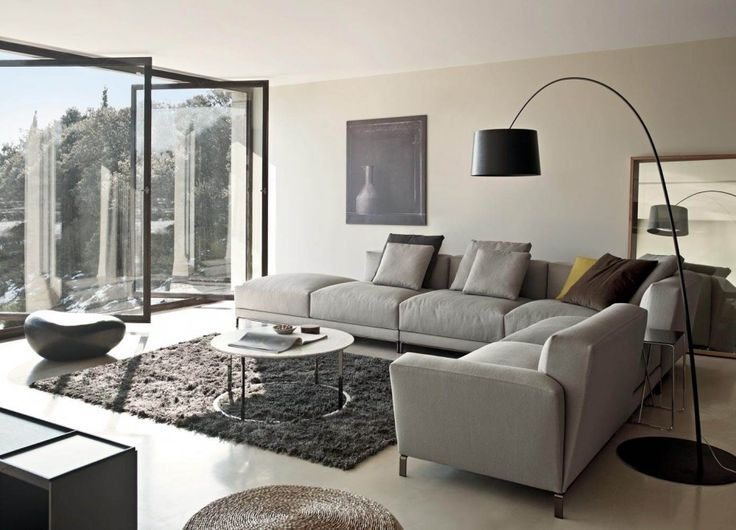 Captivating Sofa Design for Contemporary Living Room : Grey Sofa In Cream Living Room With Black Arch Lamp