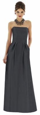Alfred Sung style D617 is a Full length strapless peau de soie dress w/ shaped inset midriff and pleated skirt. Pockets at side seams of skirt.