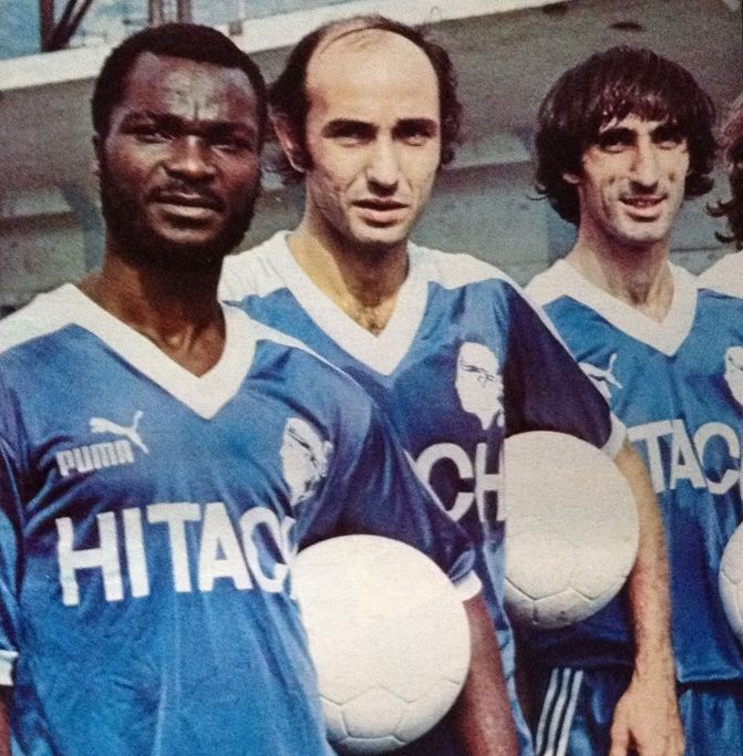 Roger Milla (left, SC Bastia, 1980–1984, 113 apps, 35 goals) and Jean-Louis Cazes (right, SC Bastia, 1975-1985, 327 apps, 10 goals).
