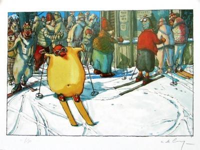 """DE CRECY . Affiche Éd° d'Art n°/150 signée """"Le Skieur"""""""