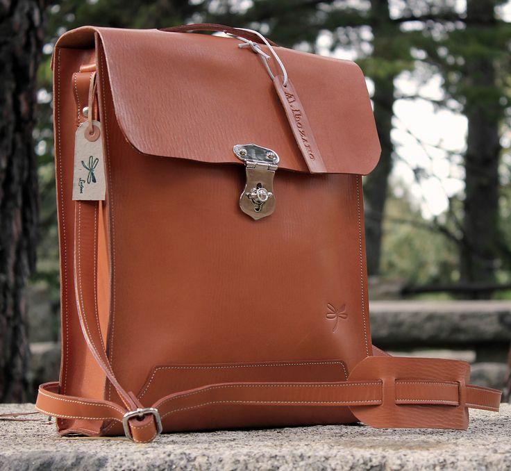 computer bag - leather messenger , handmade man briefcase - Leather Shoulder Bag Nature.