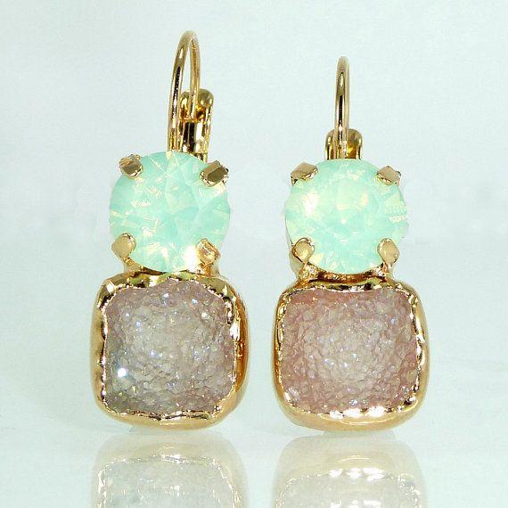 Mint & Gray Druzy Earrings Double Stone Drop by inbalmishan