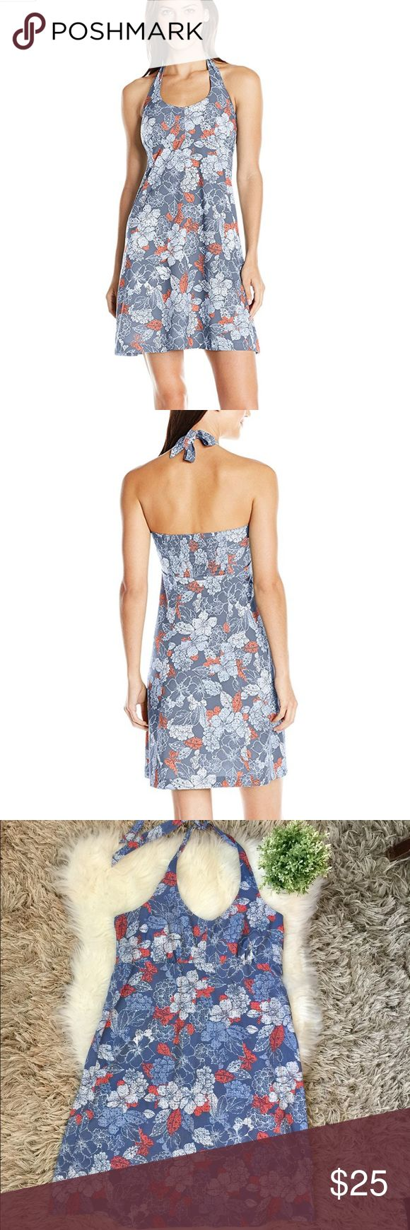 """Columbia PFG Armadale Halter Dress Columbia PFG Armadale Halter Dress in Empress Floral Print. Blue with orange and white flowers. Moisture wicking, slightly stretchy, lightweight fabric. Scoop neck. Sleeveless. Adjustable halter neck. Seamed empire waist. Lightly flared knee-length skirt. Slip-on and unlined. Size large (measurements laying flat, bust: 18"""", length [middle of chest to bottom]: 30.5"""") Columbia Dresses Midi"""