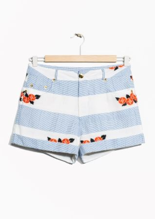 & Other Stories image 2 of Flower Embroidery Shorts in Striped