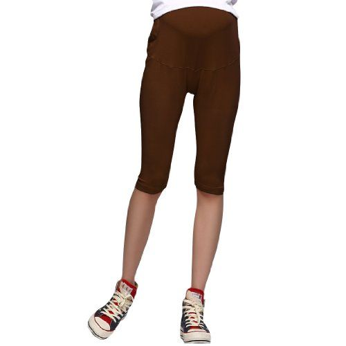 Pregnant Women Elastic Waist Capris Leggings Coffee Color Xs >>> See this great product.