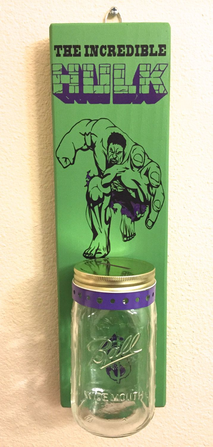 Incredible HULK PIGGY BANK with Mason Jar Rustic piggy bank Hulk Marvel - pinned by pin4etsy.com