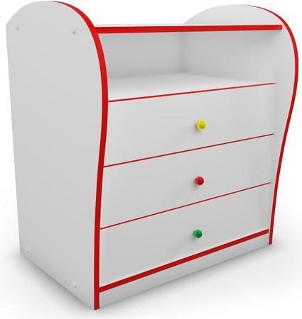 Комод (красный)  — 9530р. -------------------------------------- Комод для детской комнаты с цветной кромкой и разноцветными ручками. Придаст спальне яркость и веселое настроение. Идеально подходит к кроватям серии Кидс. Специальная система направляющих с доводчиками предотвращает резкое шумное закрывание ящиков и делает использование мебели еще более комфортным.Реальный цвет может отличаться от представленного на сайте, ввиду различных настроек монитора.