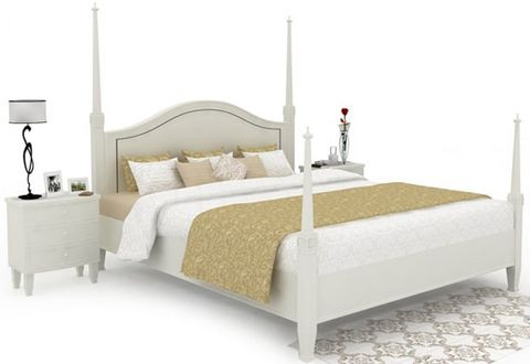 Lenard Poster Queen Size Bed Without Storage (White Finish)