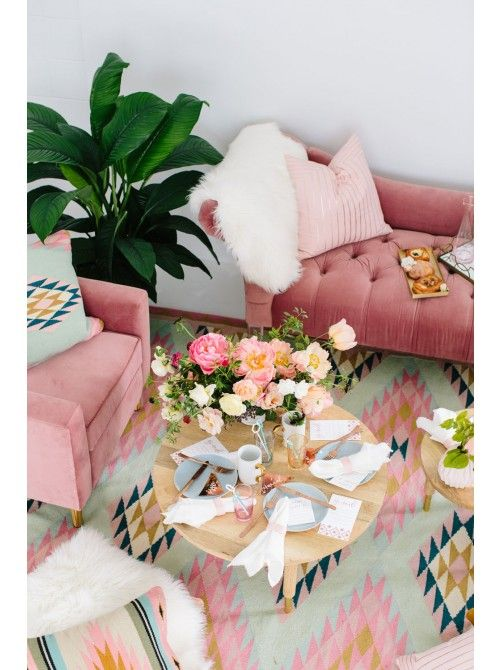 Eloide Rug by Glitter Guide with pink and mint color accents.