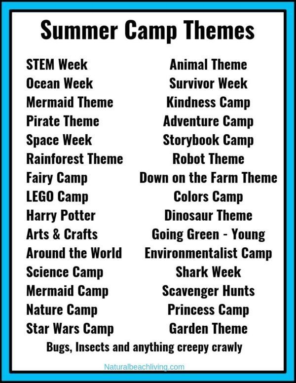 30 Summer Camp Themes The Best Summer Themes For Kids In 2020