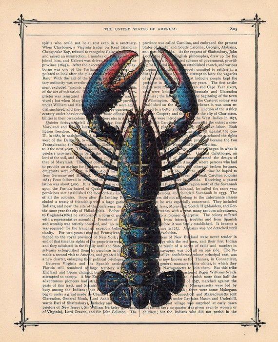 Vintage Art Print Blue Lobster $10.00