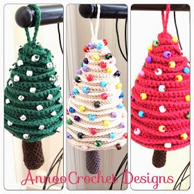 Tree Ornaments Free pattern   By AnnooCrochet designs                 I created these Cute Ornaments for my Crocheted Xmas tree, they are ...