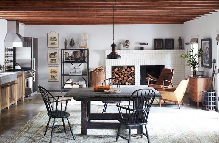 Rugs 101: Your Ultimate Guide to Rug Shopping // Pendant light, black ladder back chairs, Persian rug, white brick fireplace: Lounges Chairs, Ellen Degeneres, Ranch Home, Southern California, Elle Decor, Portia De Rossi, Santa Monica, Windsor Chairs, Ellen Degenerative