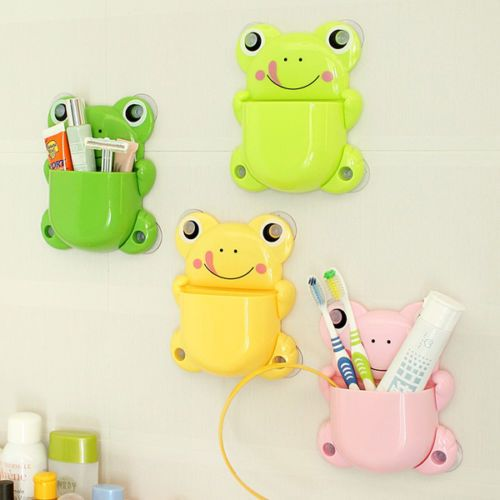 NEW-Frog-ShapeToothbrush-Toothpaste-Holder-Wall-Mounted-Toothbrush-Cup-With-Su