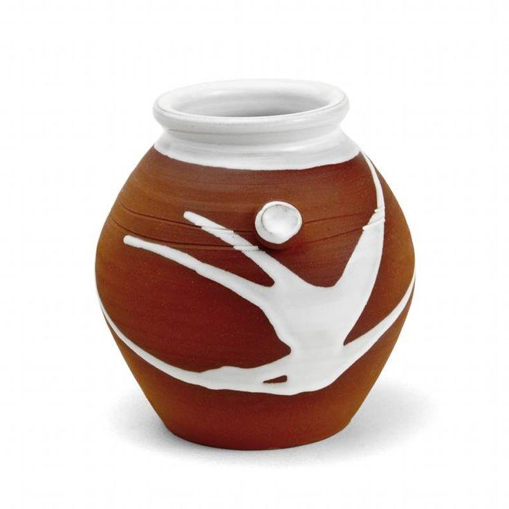 Beautiful Small Barrel Vase. Stephen Pearce Pottery, Shanagarry, Co. Cork.