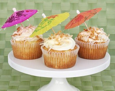 Pina Colada Cupcakes! Pineapple Cake with Coconut Cream Cheese Frosting.