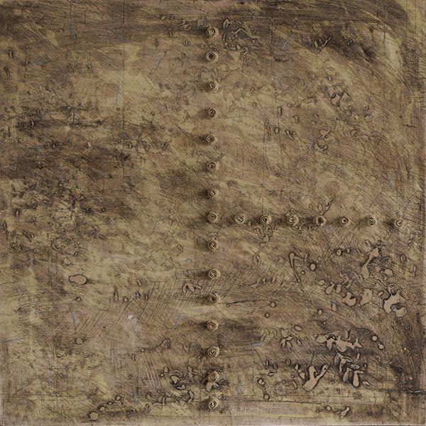 Anna Klimešová, tile (no name), 2000, 45 x 45 cm #clay #sculpture #title