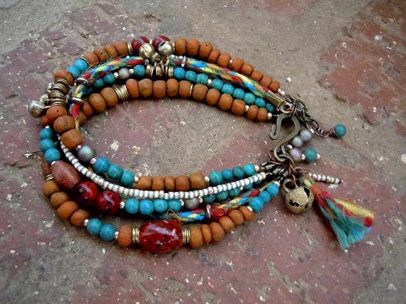 Boho Bracelet / Gypsy Bracelet / Gypsy Jewelry / Boho Chic / Multi Strand…