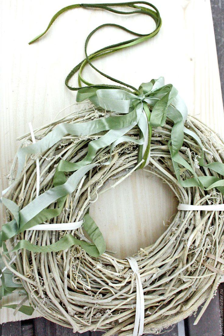 Купить Летний веночек - бежевый, зеленый, пасхальный венок, минимализм, рустикальный стиль, современный интерьер