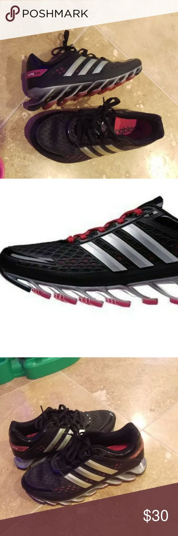 Adidas Running Black/Pink Slingblade Shoe Size 9 Springy Super Cushioning Running Shoes. Worn Twice, Super Comfortable. Just too big. Womens Adidas Running Black/Pink/Silver Slingblade Shoe Size 9. Retails for 115. Barely remote wear. adidas Shoes Athletic Shoes