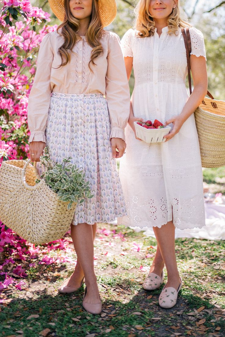 Gal Meets Glam Azalea Tea Party Picnic - Julia- Rebecca Taylor top, Brooks Brothers skirt; Lucy– Sea dress