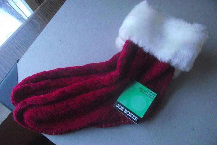 Joe Boxer Womens Christmas Non Skid Socks Size 4 to 10 White Trim Red Socks New #JoeBoxer #SlipperBedSocks