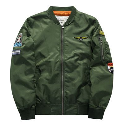 Men's Bomber Air Force One Hip Hop Patch Slim Fit Pilot Jacket