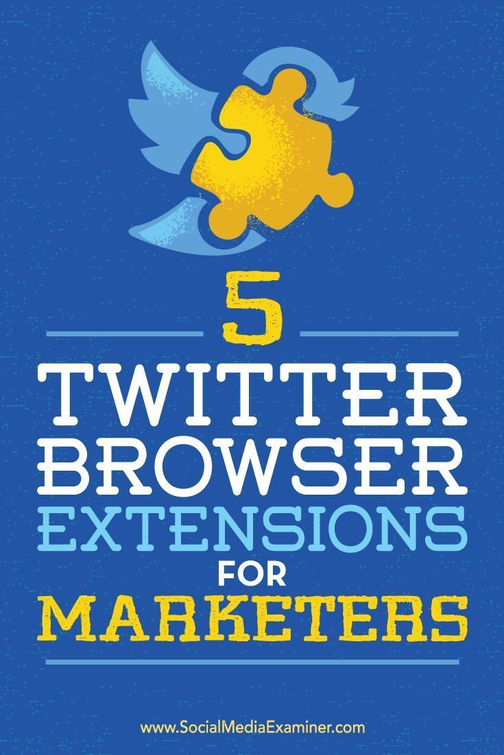 Do you use Twitter for business?  Using browser extensions to enhance your Twitter marketing will save you time and streamline your workflow.  In this article, youll discover five browser extensions to improve your Twitter marketing experience.. Via @sme