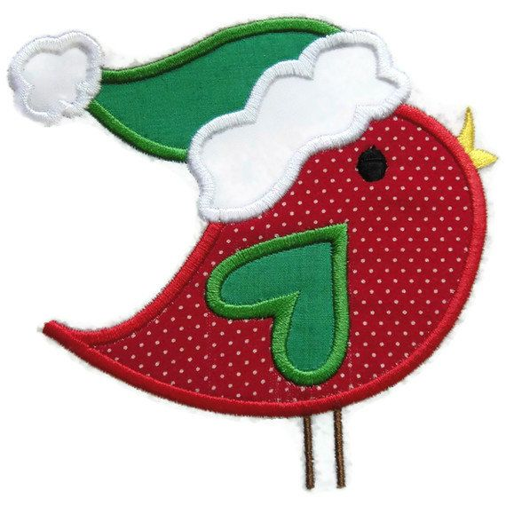 Christmas Bird Machine Embroidery Applique Design