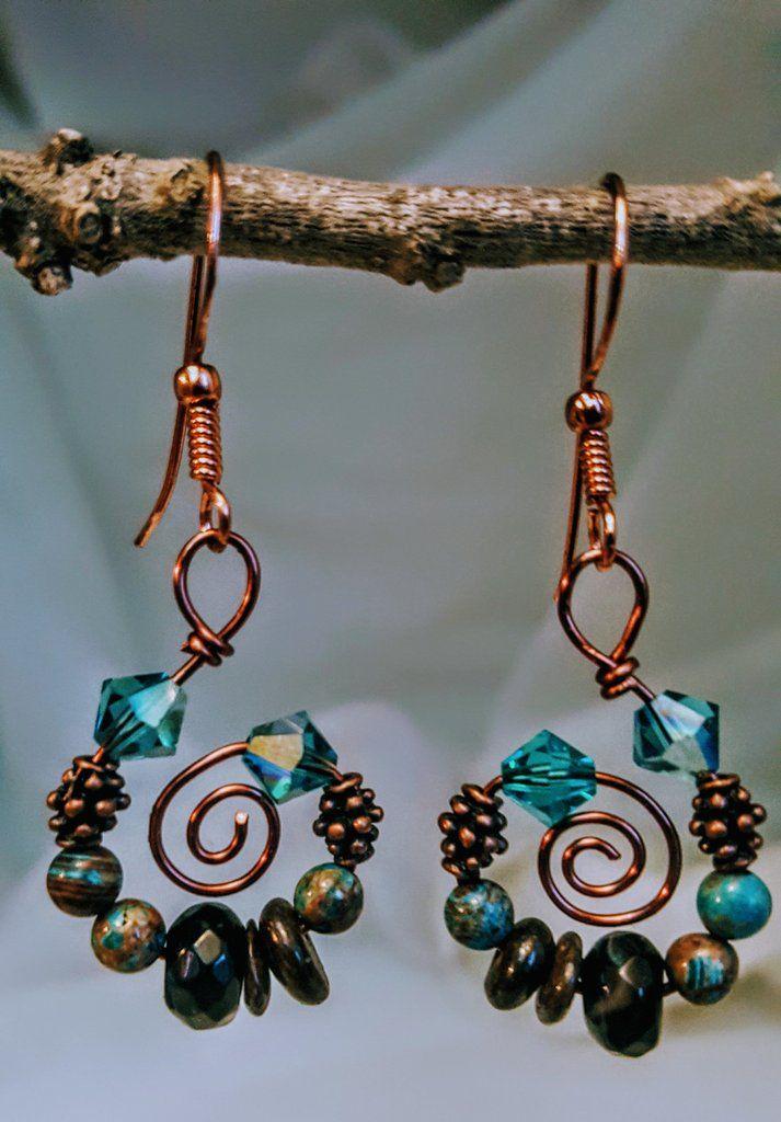 Handmade Copper Gemstone and Swarovski Crystal Earrings