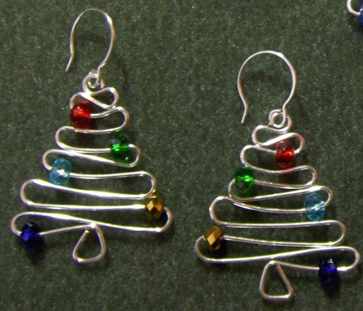 Christmas Tree Earrings: Xmas Trees, Idea, Gift, Beads, Wire Trees, Christmas Trees Ornaments, Trees Earrings, Crafts, Christmas Earrings