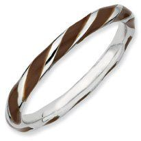 Autumn Silver Twisted Brown Enamel Stackable Band. Sizes 5-10 Available Jewelry Pot. $22.99. 100% Satisfaction Guarantee. Questions? Call 866-923-4446. Fabulous Promotions and Discounts!. Your item will be shipped the same or next weekday!. All Genuine Diamonds, Gemstones, Materials, and Precious Metals. 30 Day Money Back Guarantee