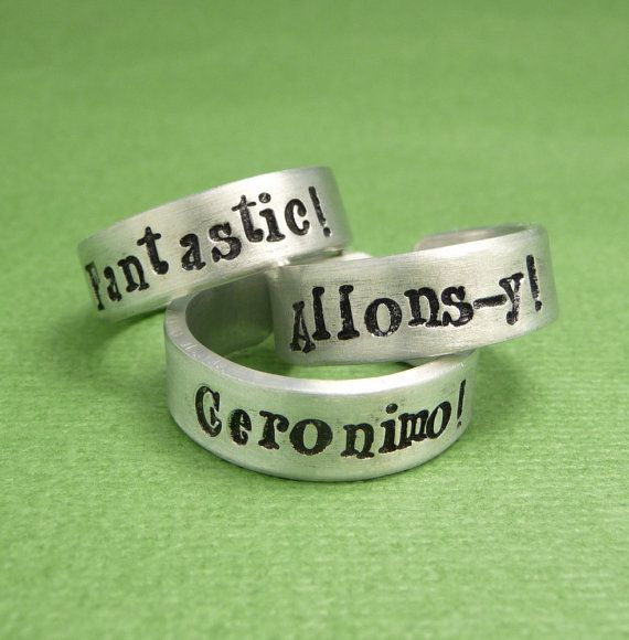 Doctor Who Inspired - CHOOSE ONE - Fantastic, Allonsy, or Geronimo - A Hand Stamped Aluminum Ring on Etsy, $11.95