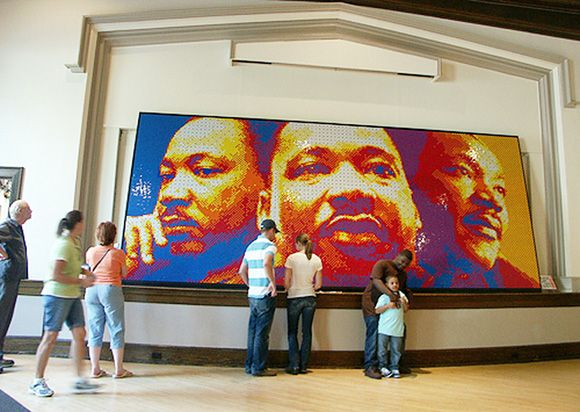 Dream Big is a mosiac by Peter Fecteau of Dr. Martin Luther King Jr made of 4,242 rubik's cubes