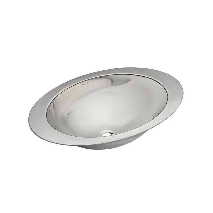 KOHLER Rhythm Undermount Stainless Steel Bathroom Sink In Satin/Mirror  Finish, Satin Stainless Steel