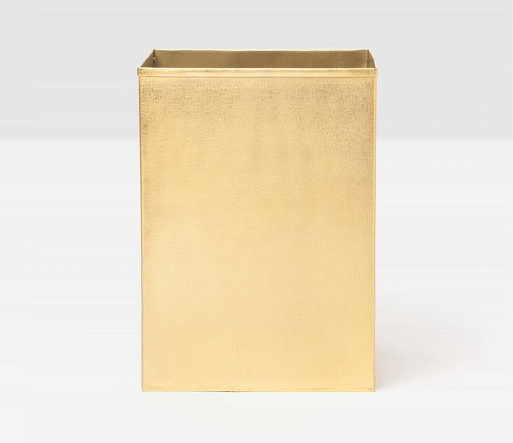 Pigeon & Poodle Tiset Square Wastebasket in Shiny Gold and Optional Tissue Box from The Well Appointed House